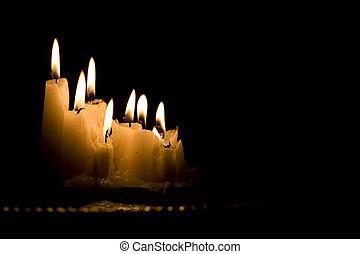 חושך, נרות, לבן, קבץ, להשרף