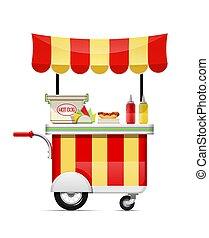 חטיף, illustration., אוכל, כלב, מהיר, חם, וקטור, cart., bar.