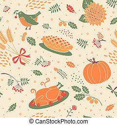 חיטה, תבנית, seamless, עוזב, דלועים, turkey.