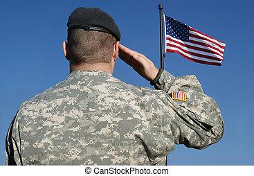 חייל, דגלל, salutes