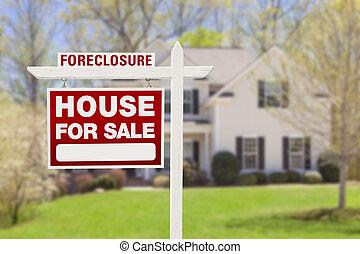 חילוט, דיר, סימן של מכירה, חזית, בית