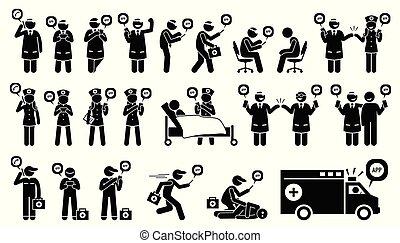 חירום מטלפן, נייד, רפואי, שירותי בריות, patient., רופא, אמון, טכנאי, אפליקציה