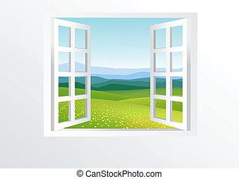חלון, פתוח, טבע