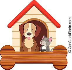 חמוד, כלב, חתול, pethouse, דפוסית, דגל