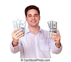 חמוד, כסף, פדה, להחזיק, לחייך, בחור