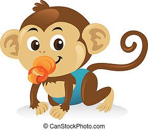 חמוד, קוף, pose., לזחול, עושה שלום, תינוק