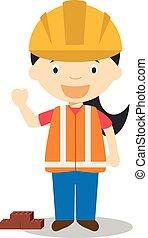 חמוד, builder., סידרה, מקצועות, דוגמה, וקטור, ציור היתולי, נשים