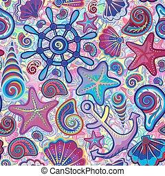 חמוד, seamless, ימי, של ים, תבנית
