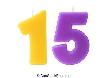 חמישה עשר, יום הולדת, הפרד, נרות