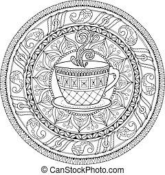 חפון, קפה, לבן, אתני, הזמן, תבנית, שרבט, coffee., אומנות, שבטי, מבוגרים, zentangle, שחור, העבר, לצבוע, תה, kids., mandala., רקע., הסתובב, צייר, theme., קישוט