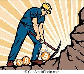 חפור, מטבעות, כורה, bitcoin, פחם, גרזן, בחר