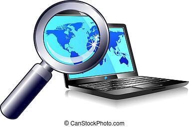 חפש, מחשב נייד, מצא, אינטרנט
