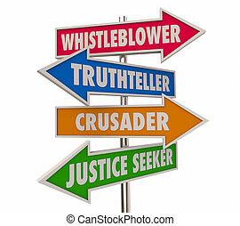 חץ, whistleblower, דוגמה, מילים, סימנים, 3d