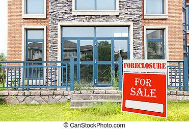 חצר, חילוט, סימן של מכירה, חזית, בית