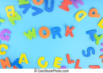 חריתה, beautifully, עבודה, letters., רקע., שים, ססגוני, out