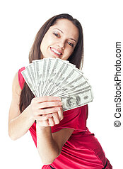 חשבונות, אישה, דולר, צעיר, להחזיק