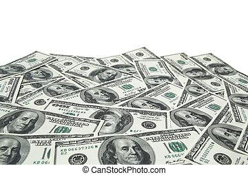 חשבונות, דולר, מישהו, רקע, לבן, מאות