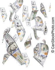 חשבונות, דולר, מישהו, randomly, לפול, מאות, לבן
