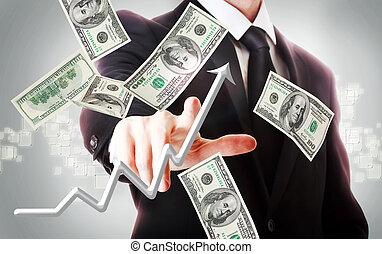 חשבונות, עסק, דולר, איש, מאות