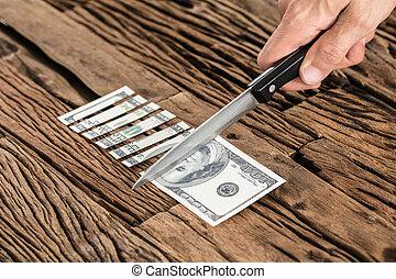 חשבן, לחתוך, דולר, העבר, סכין, 100