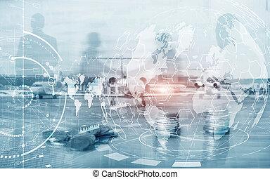 חשיפה, marketing., מושג, כלכלה של עסק, שלוט, להחליף, אסטרטגיה, כפיל, אחסן, לוח