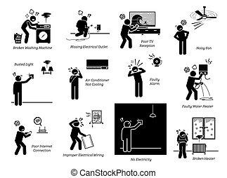חשמלי, בית, פיכטוגראם, icons., דיר, בעיות, מכשירים, הדבק דמות