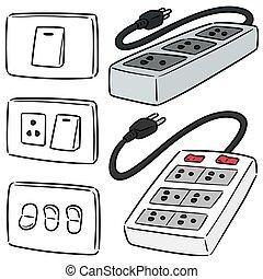חשמלי, קבע, החלף, סתום, וקטור