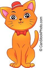 חתול, ללבוש, חמוד, כובע, ציור היתולי