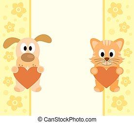 חתול, ציור היתולי, רקע, כלב