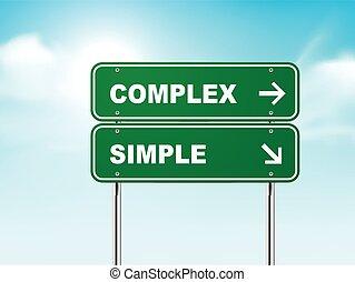 חתום, דרך, מסובך, פשוט, 3d