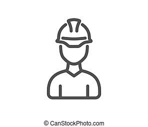 חתום., הנדס, מנהל עבודה, קו, וקטור, או, אדריכל, icon.