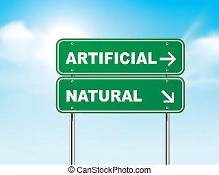 חתום, טבעי, מלאכותי, דרך, 3d