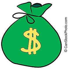 חתום, כסף, דולר, שקית, חזית