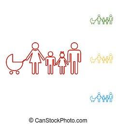 חתום., קבע, קו, משפחה, איקונים