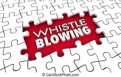 חתיכות, בלבל, whistleblowing, אמת, קופאי, דוגמה, חור, צלבן, 3d