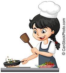 טבח, אוכל, ילדה, ללבוש, חמוד, כובע, אופי, בישול