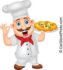 טבח, אופי, ציור היתולי, פיצה