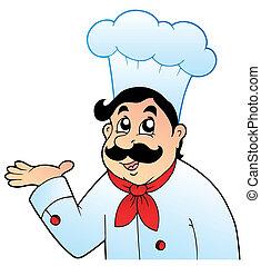 טבח, גדול, כובע, ציור היתולי