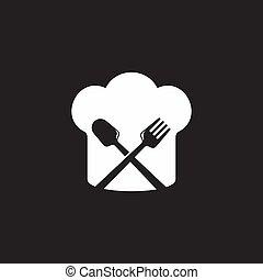טבח, גיאומטרי, פשוט, סמל, כף, וקטור, כובע, מזלג, לוגו