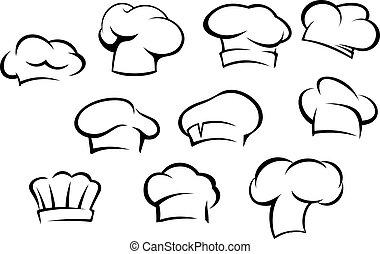 טבח, לבן, כובעים, כובעים