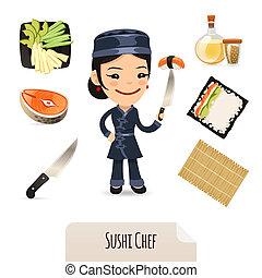 טבח, סושי, קבע, נקבה, איקונים