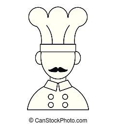 טבח, שפם, ציור היתולי