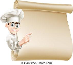 טבח, תפריט, ציור היתולי