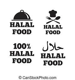 טבעי, אוכל, סמל., icons., halal, ארוחה