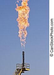 טבעי, להשרף, הבהק, -, גז, זיהום