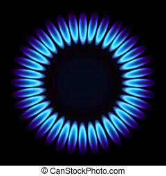 טבעי, flame., גז