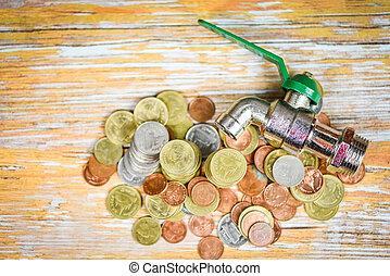 טבע, -, הבט, חיסכונות, כסף, מושג, רקע, נפול, השקה, הציין, ברז, עץ