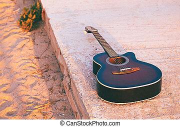 טון, סיגנון, ערב, אור השמש, גיטרה, ראטרו, אקוסטי, החף