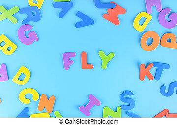 טוס, חריתה, beautifully, letters., רקע., שים, ססגוני, out