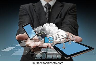 טכנולוגיה, אנשי עסקים, ידיים